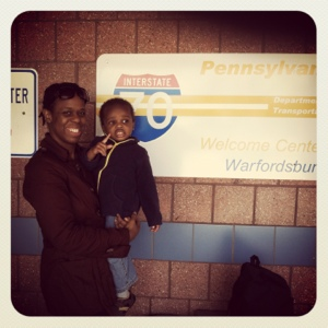With mommy at the Pennsylvania line