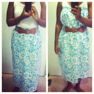 Blue floral maxi skirt/dress
